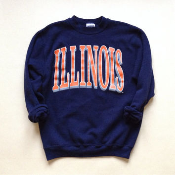 University of Illinois Crewneck Sweashirt - U of I Champaign Navy Vintage Crewneck Sweatshirt - College Crewneck - Gift for student