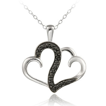 Sterling Silver Black Diamond Accent Double Swirl Heart Necklace