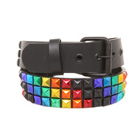 Rainbow Black Matte Stud Belt | Hot Topic