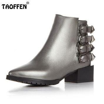 Brand New Women Real Leather Pointed Toe Ankle Boots Woman Square Heel Shoes Stylish Buckle Footwear Shoes Size 33-43