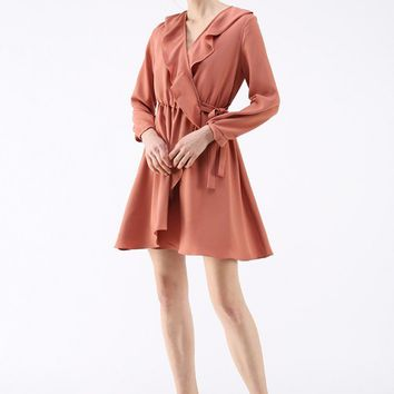 Wonderful Frilling Wrapped Dress in Coral