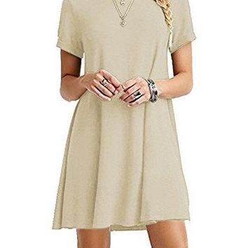 iGENJUN Womens Casual Plain Long Sleeve Simple TShirt Loose Dress