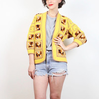 Vintage 70s Yellow Brown Granny Squares Sweater Homemade Hand Knit Cardigan Shrunken 1970s Crochet Jumper Hippie Blanket XS Extra Small S