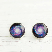 Universe Earrings, Space Earrings, Galaxy Earrings, Stars Earrings, Purple and White, FREE shipping