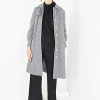 minimalist coat HEATHER GREY long duster vtg 70s coat basic coat wardrobe classic cut coat water repellent small xs