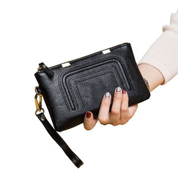 Fashion Women's Genuine Leather Wallets Female Phone Coin Cosmetic Purse Ladies Leisure Natural Real Leather Brief Clutch