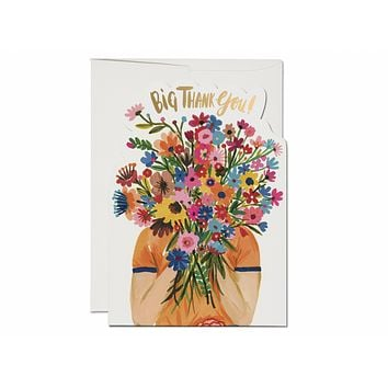 RED CAP CARDS FACE FULL OF FLOWERS CARD