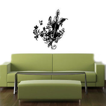 VIOLIN WITH FLORAL DESIGN MUSIC WALL VINYL STICKER  DECALS ART MURAL T126