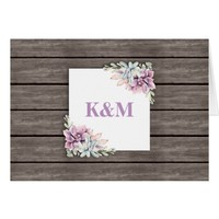 Rustic Garden Succulent Floral Evening Reception Card