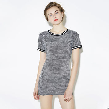 Knitted O-neck Short Sleeve Slim Bodycon A-line Dress