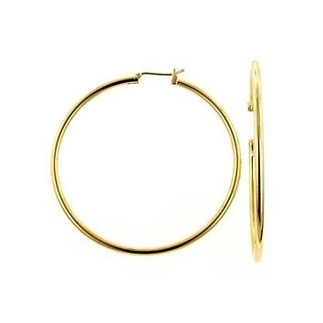 Minimalist Round Tube Large Hoop Earrings Shiny 18K Gold Plated 2 Dia