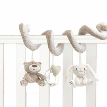 Baby Crib Toys Baby Bed Musical Mobile Soft Plush Rabbit Cot Stroller Hanging Rattle Toy Newborn Gift