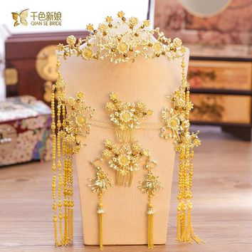 Chinese bride headdress costume gold floral hairpin wedding  hairwear and earrings photography accessories jinmi