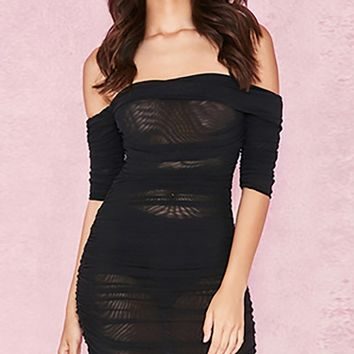 Stage Right Black Sheer Mesh Short Sleeve Off The Shoulder Bodycon Mini Dress