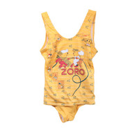 Vintage One Piece Swimsuit ZORO Cartoon 60's 70's Yellow Women's Swimwear
