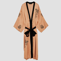 EMBROIDERED SATIN KIMONO - NEW IN-WOMAN | ZARA United States
