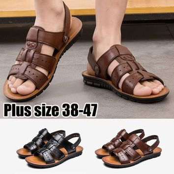 Men's Summer Fashion Casual Beach Sandals Men Casual Outdoor Soft Hollow-out Leather Flat Sandals Slippers Man Shoes Black Brown