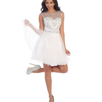 White Short Embellished Cutout Back Tulle Dress 2015 Homecoming Dresses