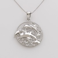 Jewelry for Trees Platinum-Over-Silver Dolphin Pendant (Platinum/Silver)