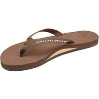 Womens Rainbow Sandals Single Layer Narrow Strap White Crystal Pink Large (7.5-8.5)