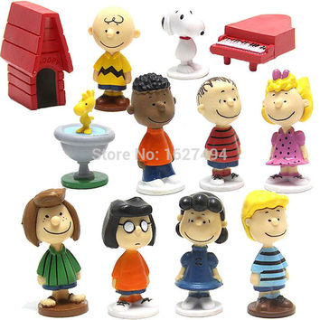 12pcs/set Peanuts Charlie Brown Woodstock Franklin Lucy Linus Dolls PVC Action Figures Anime Figurines Kids Toys For Boys Girls