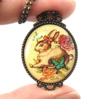 Vintage Inspired Bunny Rabbit Hare Illustration Pendant Necklace | Animal Jewelry