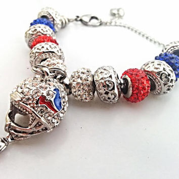 Houston Texans Charm Bracelet, 316L Stainless Steel European Football Team Bracelet