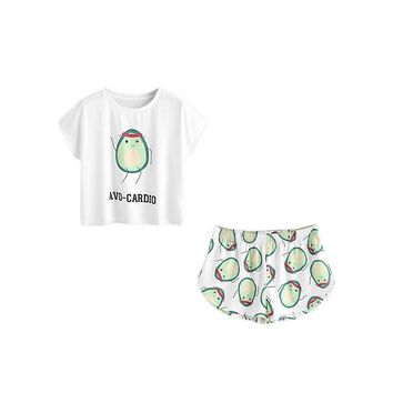 RWL Boutique -  Casual Womens Two Piece Pajamas Set Avocado Print Short Sleeve Tee and Elastic Waist Shorts Set