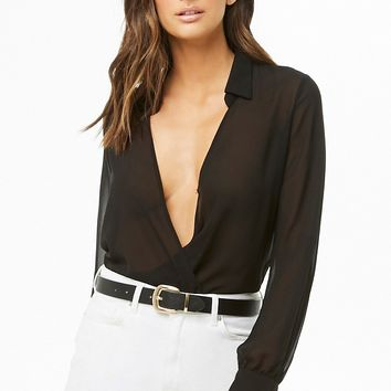 Plunging Surplice Chiffon Top