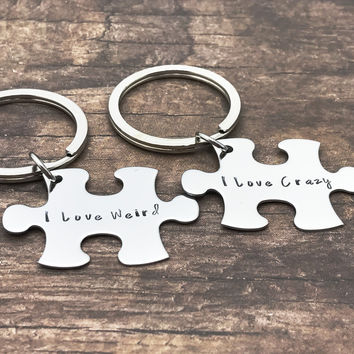 I Love Weird I Love Crazy Keychains, Couples Puzzle Piece Keychains , Anniversary Gift
