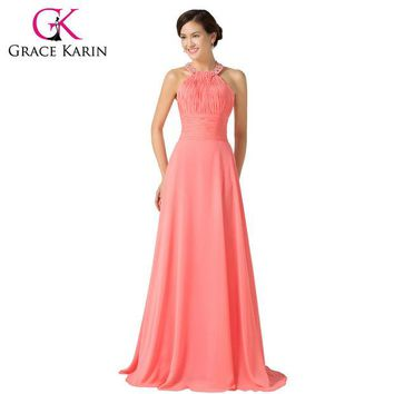 DCCKDZ2 2016 Grace Karin Halter Chiffon Watermelon Long Bridesmaid Dresses Floor Length Back to School Prom Dress Bridesmaid Gown 6028