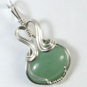 Aventurine Pendant Sterling Silver Cabochon Wire by WireYourWorld