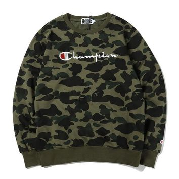 Hoodies Round-neck Camouflage Embroidery Alphabet Pullover Jacket [11441996103]