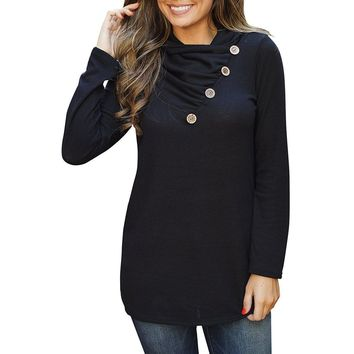 Casual Black Long Sleeve Cowl Neck Pullover Sweatshirt
