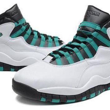 DCK7YE Cheap Air Jordan 10 Retro Men Shoes White Green