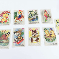 Vintage Animal Playing Cards Kitschy Animal Card Snap Game Kitsch Illustrations Duck Bird Rabbit Set Of 9 Vintage Card Game Ephemera Crafts