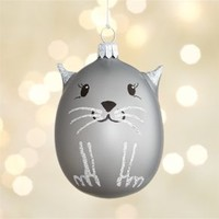 Silver Cat Ornament