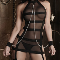 Chained Mesh Strappy Halter Sleeveless Chemise