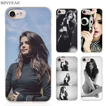 BINYEAE Selena Gomez Clear Cell Phone Case Cover for Apple iPhone 4 4s 5 5s SE 5c 6 6s 7 Plus