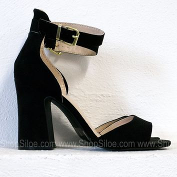 Party Suede Heels | Black