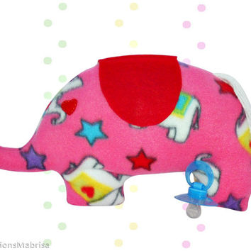 Elephant Plush Toy, Pink Elephant Polar Fleece, Polar Fleece Stuffed Elephant, Polar Fleece Stuffed Animal