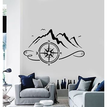 Vinyl Wall Decal Compass Nature Mountains Bird Freedom Stickers Mural (g1634)