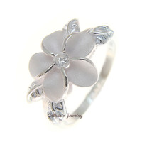 STERLING SILVER 925 HAWAIIAN 12MM PLUMERIA FLOWER MAILE LEAF WHITE CZ RING 1-11