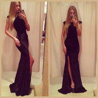 Black Short Sleeve Bodycon Fishtail High Slit Maxi Dress