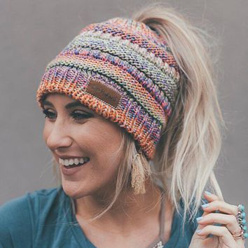 Messy Bun Knitted Beanie Hat - Pink Multi