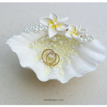 Beach Ring Bearer Sea Shell. Beach Wedding Ring Bearer Pillow