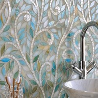pearl mosaic in the bathroom