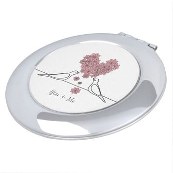 Cute White Doves in Love Pink Floral Heart Compact Mirror
