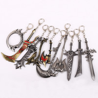 Julie World of WOW Keychain Warcraft Frostmourne Novelty Figure Key Chain Holder Chaveiro Keyring 10cm Men jewelry Accessories