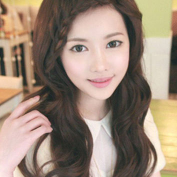 Deep Brown Curly Synthetic Sweet Long Wig